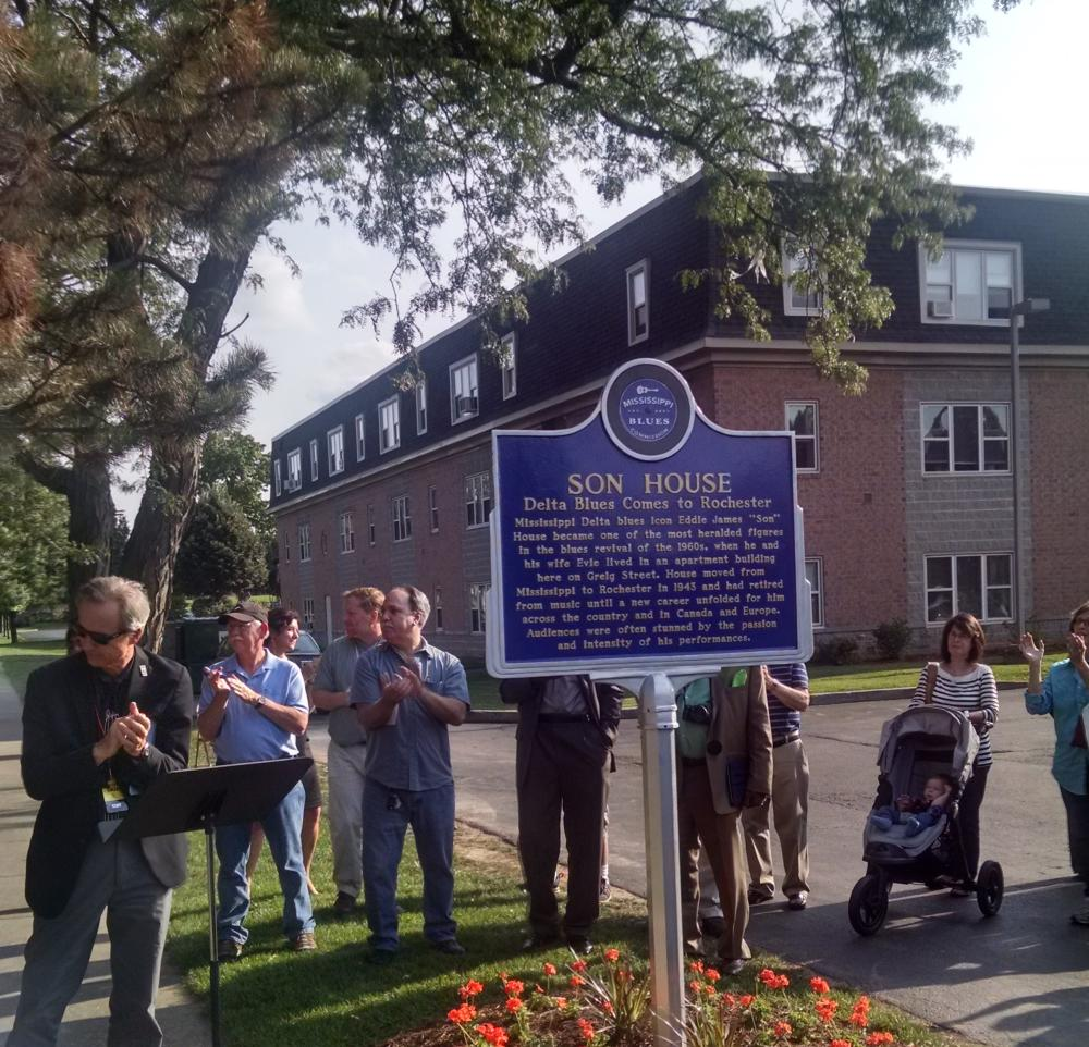 August 2015 dedication ceremony of Mississippi Blues Trail Marker for Son House, Grieg Street, Rochester, NY