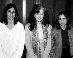 Bonnie Raitt (center) is flanked by Berklee Guitar assistant professors Robin Stone (left) and Lauren Pasarelli (right).