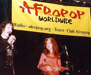 Executive Producer Sean Barlow with Bonnie at Let Freedom Sing! - Bottom Line New York - April 29, 2002 © Banning Eyre