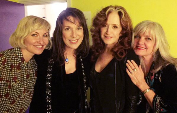 Shelly Poole, Beth Nielsen Chapman, Bonnie Raitt and Kimmie Rhodes backstage at the AMAUK Awards, 2016